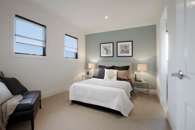 Balwyn North Guest Bedroom With Duck Egg Blue Painted Feature