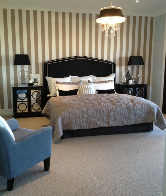 Balwyn North Master Bedroom With Stripe Wallpaper