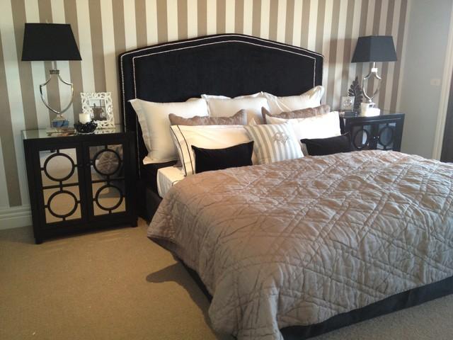 Balwyn North Mirrored Bedside Tables Black Velvet Bed Head Striped Monogramme Traditional Bedroom Melbourne