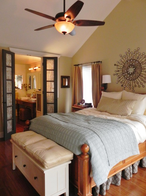 bamboo wood floors; french doors; muted colors; vaulted ceiling traditional bedroom