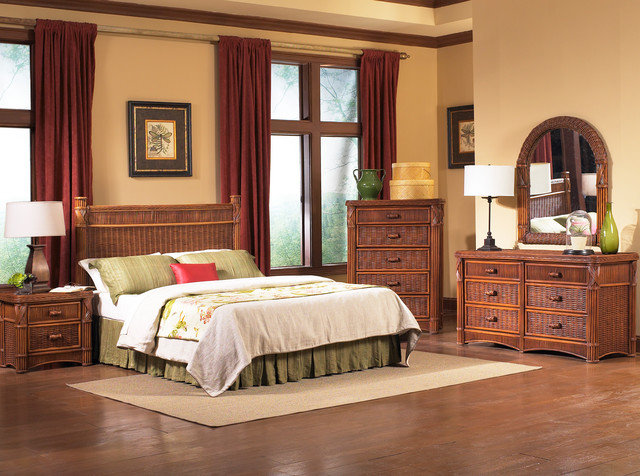 Barbados Rattan Bedroom Furniture - Tropical - Bedroom - New York ...