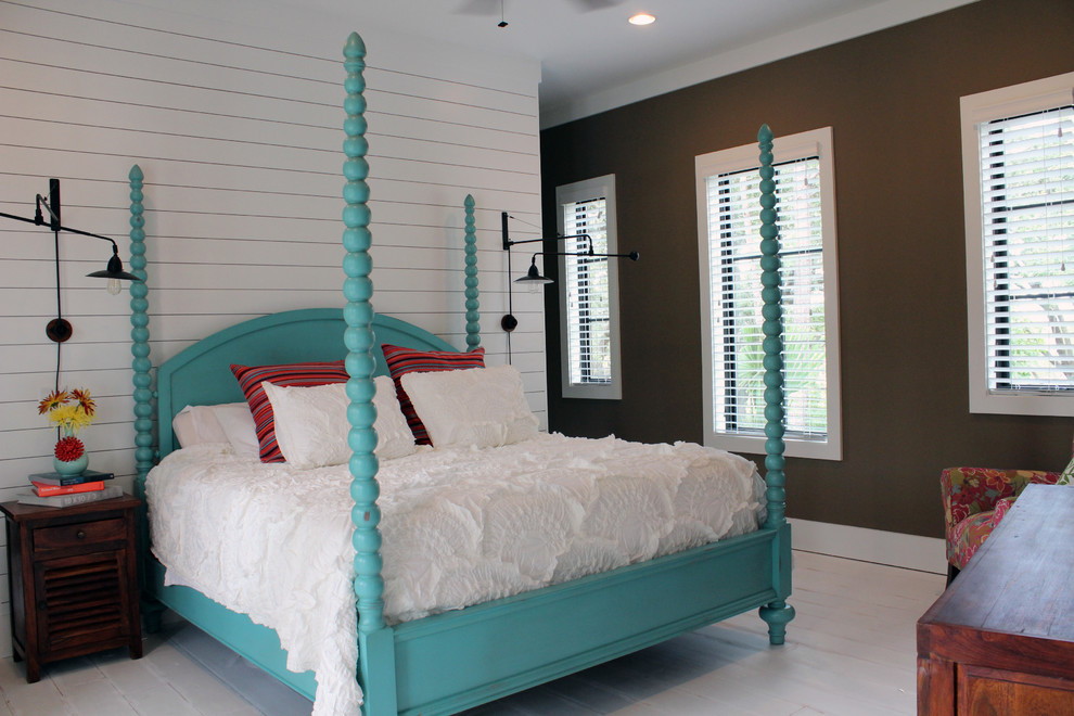 Island style painted wood floor bedroom photo in Charleston with multicolored walls