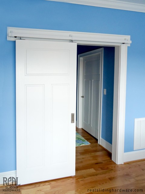 Barn door hardware traditional bedroom other metro for Bedroom barn door hardware
