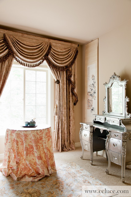 Baroque Floral Swag Valance Window Treatment - Traditional - Bedroom - seattle - by Celuce