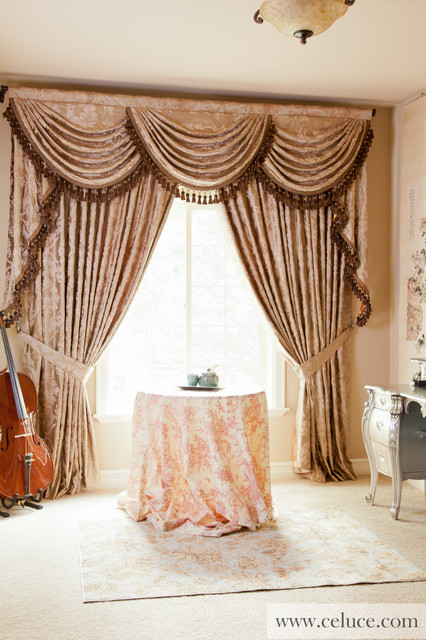Baroque Floral Swag Valance Window Treatment Traditional Bedroom