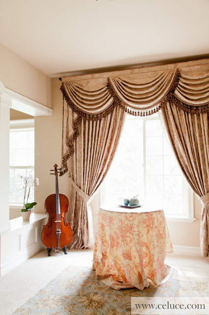 Baroque Floral Swag Valance Window Treatment - Traditional - Bedroom ...