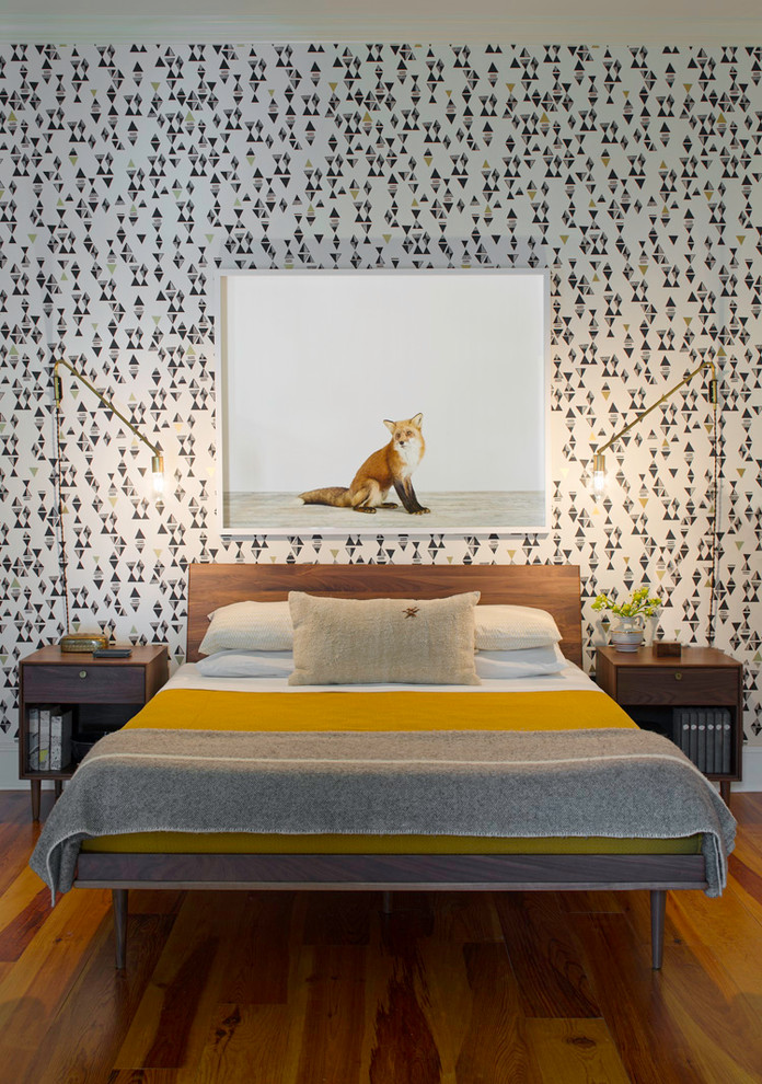 Inspiration for a medium sized contemporary master bedroom in Atlanta with medium hardwood flooring and multi-coloured walls.