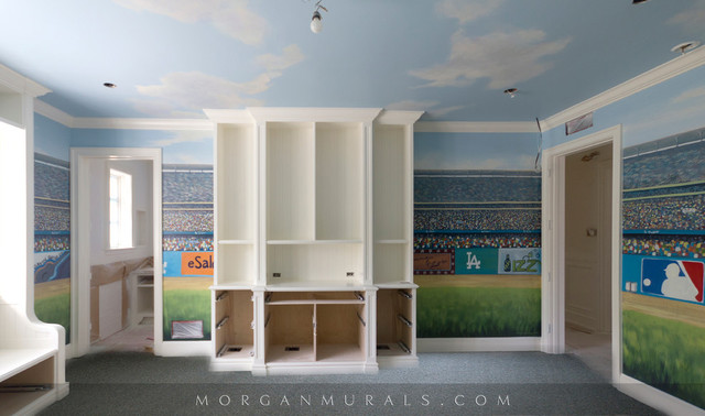 Baseball wall mural of dodgers stadium eclectic for Baseball stadium mural wallpaper
