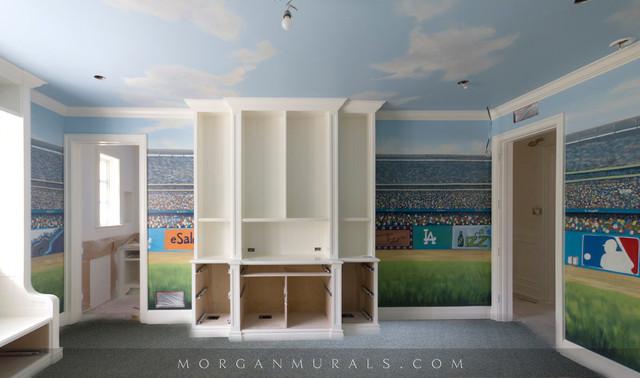 Baseball mural dodger stadium wall mural eclectic bedroom for Baseball stadium mural wallpaper