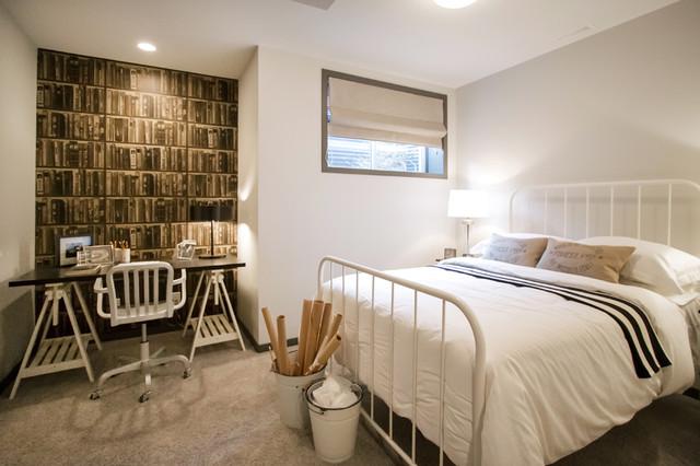 basement development traditional bedroom calgary by natalie