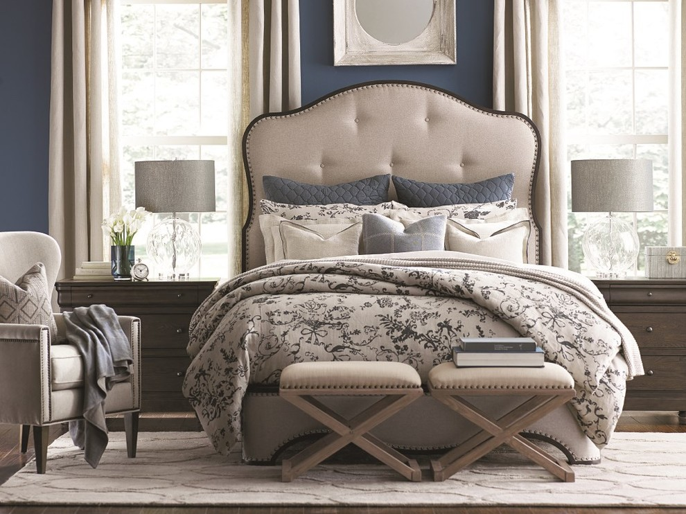 Bedroom - large country guest dark wood floor bedroom idea in Jacksonville with blue walls and no fireplace