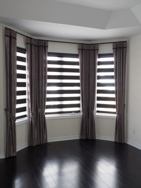 Bay windows window covering solutions contemporary for Bedroom bay window treatments