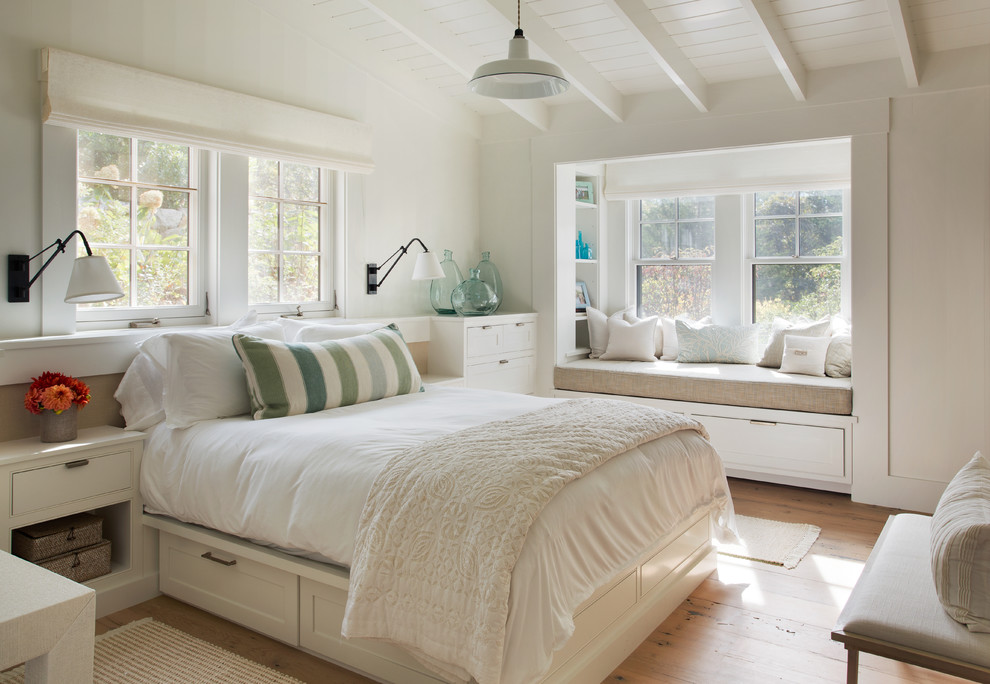Inspiration for a cottage light wood floor bedroom remodel in Boston with gray walls