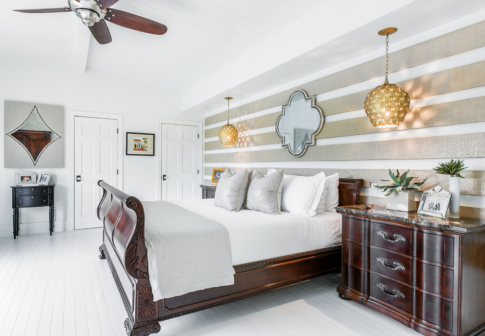 Bedroom - transitional painted wood floor and white floor bedroom idea in Jacksonville with white walls