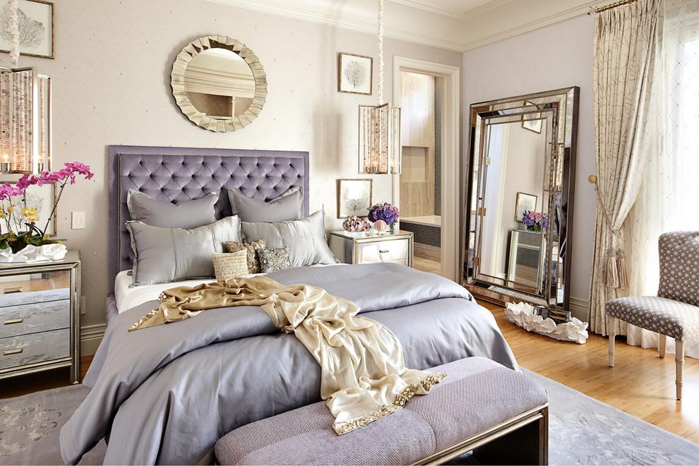 Eclectic master light wood floor bedroom photo in Las Vegas
