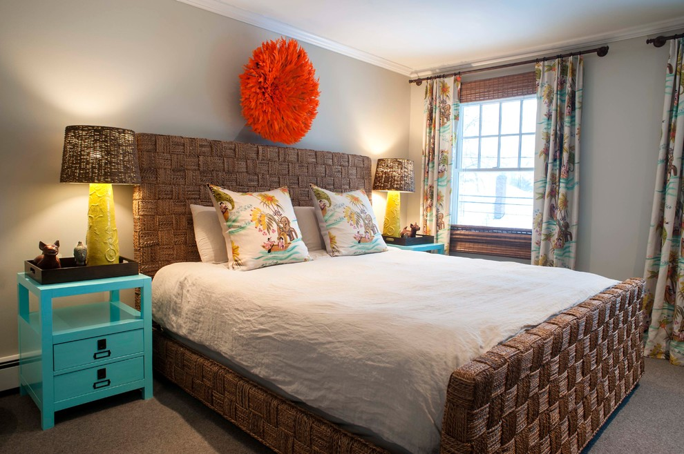 Bedroom - large coastal master carpeted bedroom idea in Other with gray walls