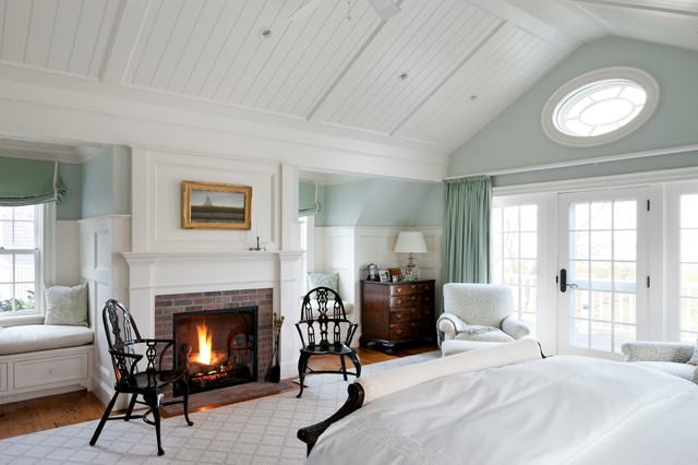 Coastal Bedroom Photo In Boston With Blue Walls, A Brick Fireplace And A  Standard Fireplace