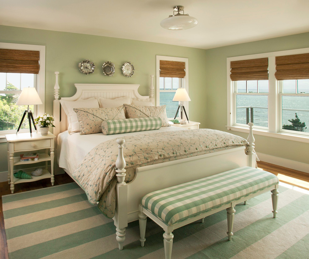 Inspiration for a coastal bedroom remodel in DC Metro with green walls