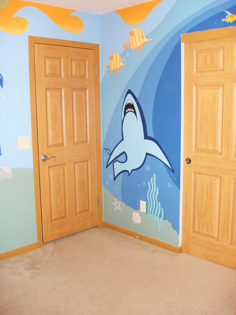 Beach themed boys room mural beach style bedroom by for Beach mural bedroom