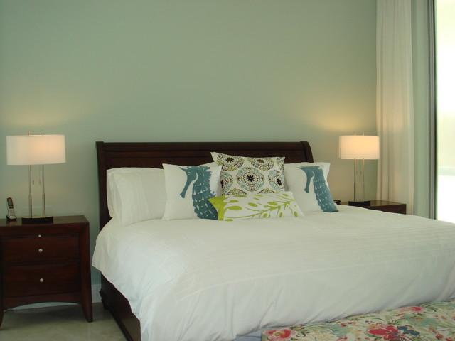 Example of a coastal bedroom design in Miami
