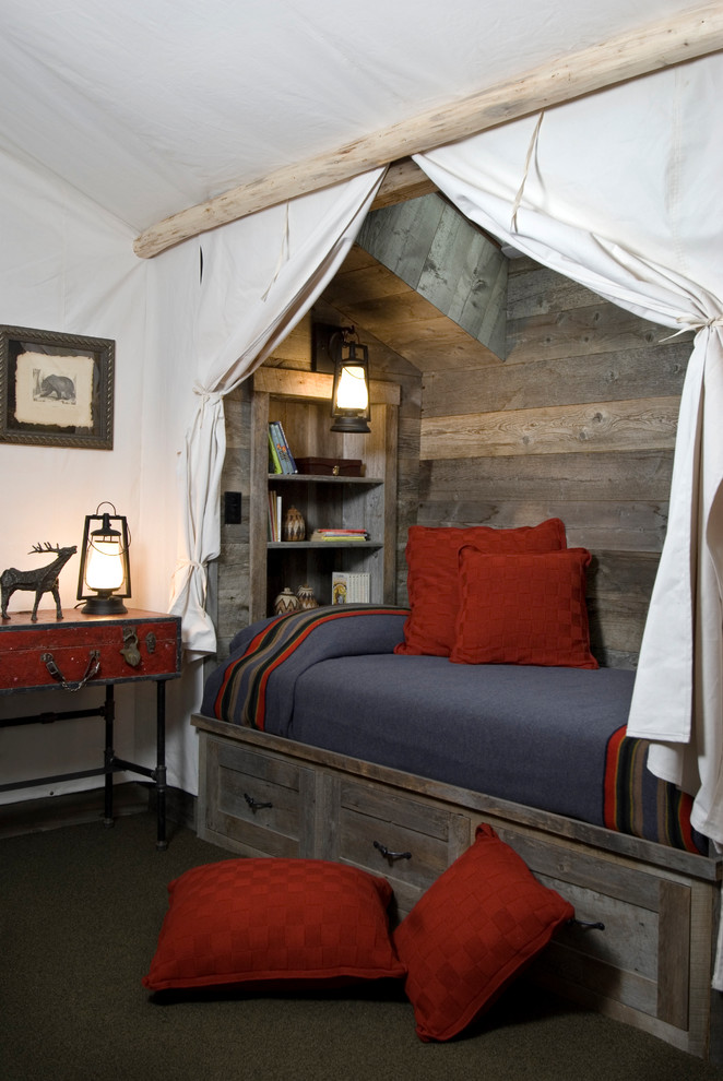 Inspiration for a rustic guest carpeted bedroom remodel in Other