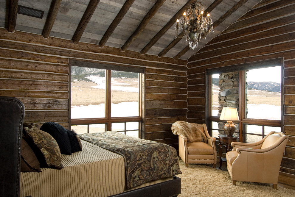 Mountain style bedroom photo in Other with no fireplace