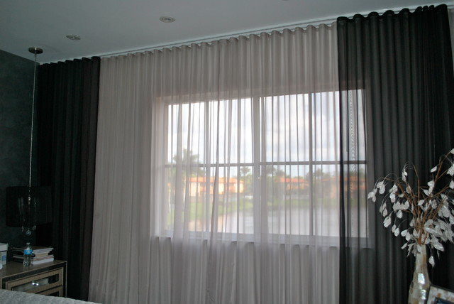 Curtains Ideas black sheer curtain : Beatriz Miami Lakes - Ripple Fold Black + Silver Sheer Drapes ...