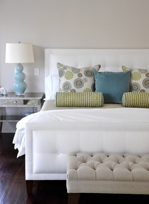 Beautiful crisp white, blue and green bedroom contemporary bedroom