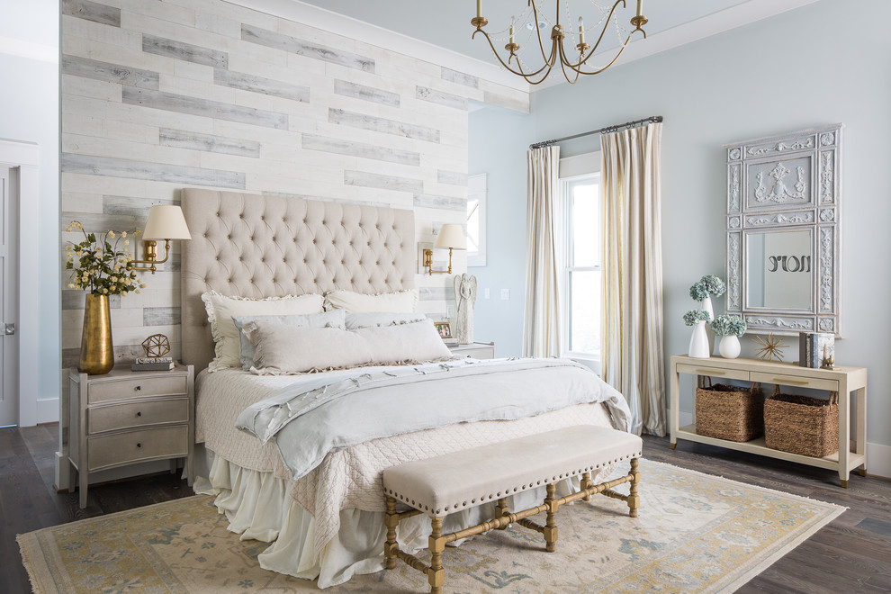 Inspiration for a large country master dark wood floor bedroom remodel in Atlanta with multicolored walls