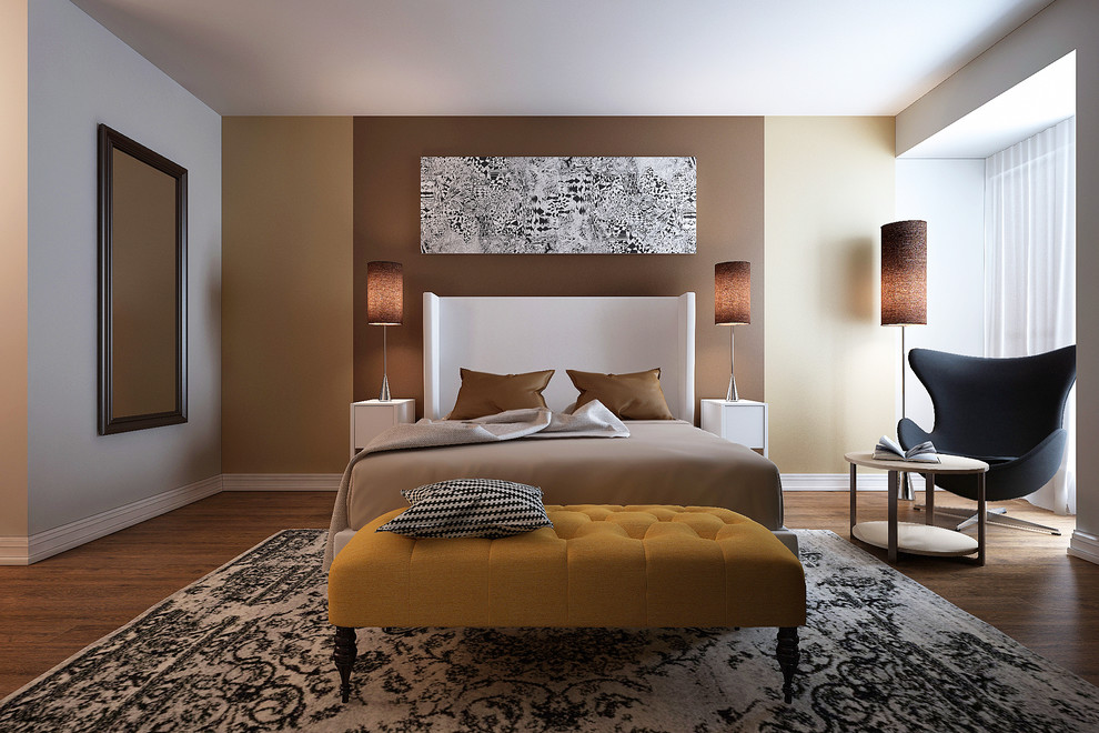 Example of a mid-sized trendy master medium tone wood floor bedroom design in New York with brown walls and no fireplace