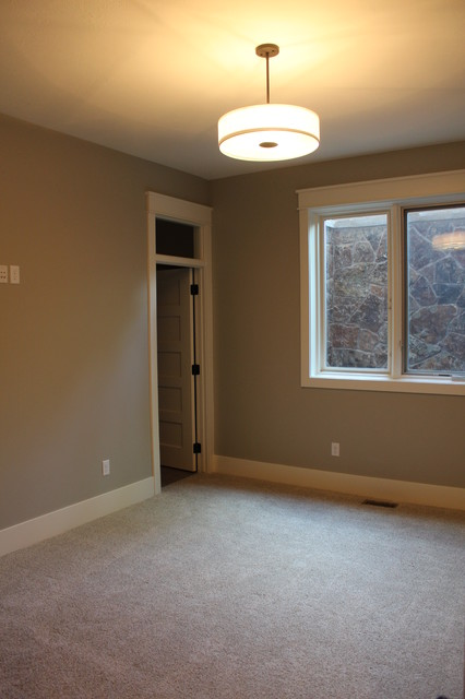 Bedroom - large transitional guest carpeted bedroom idea in Salt Lake City with gray walls and no fireplace