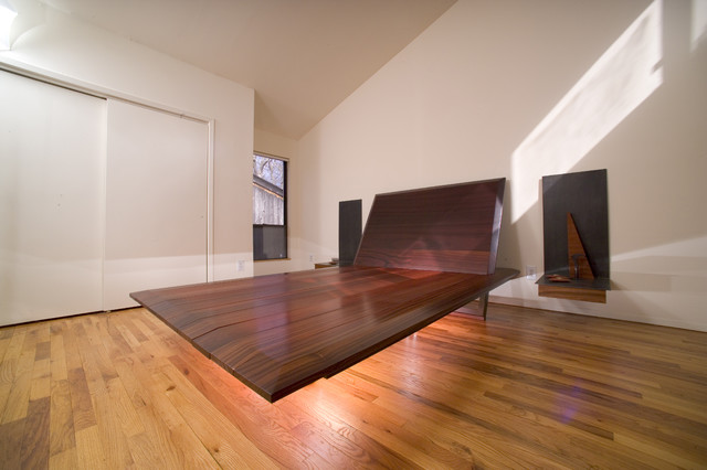 Bed: Floating Steel & Padauk Wood, End Tables: Floating Steel ...