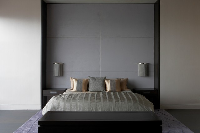 Bedroom Headboard Wall Design : Bed frame with wall mounted panels contemporary