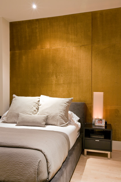Bed With Upholstered Wall Panels Contemporary Bedroom