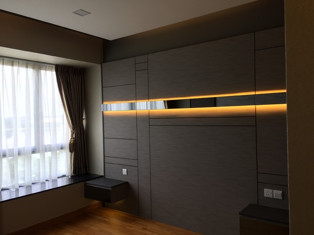 Bedhead feature wall with LED strip light