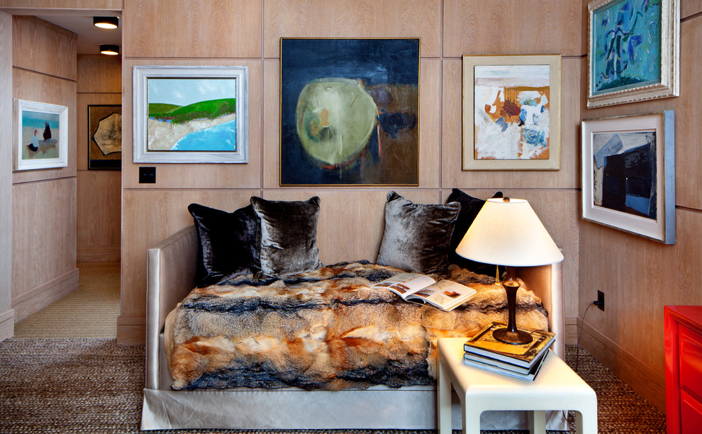 Inspiration for a contemporary guest carpeted bedroom remodel in New York