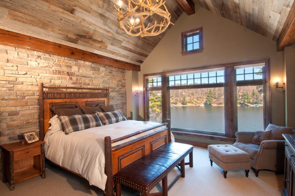 Bedroom - rustic carpeted bedroom idea in Minneapolis with beige walls