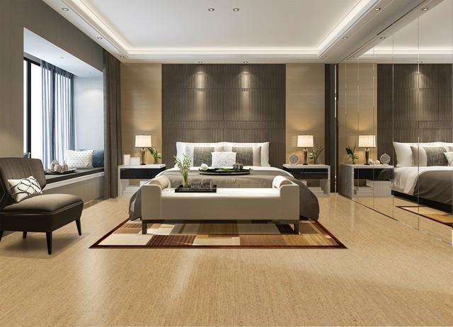 Bedroom cork flooring brown birch bedroom by icork floor for Cork flooring in bedroom