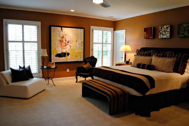 Bedroom - Cream, Brown, Rust and Black - Eclectic - Bedroom ...