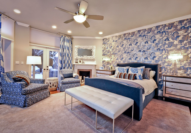 Example of an eclectic bedroom design in Boston with a corner fireplace
