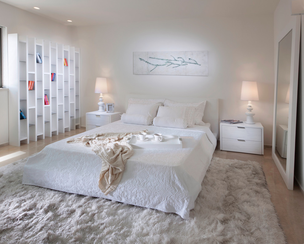 Bedroom - contemporary bedroom idea in Other with white walls