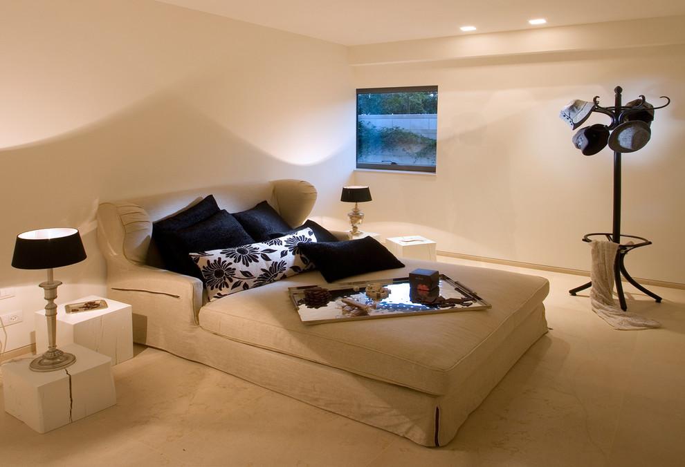 Bedroom - eclectic bedroom idea in Other with beige walls