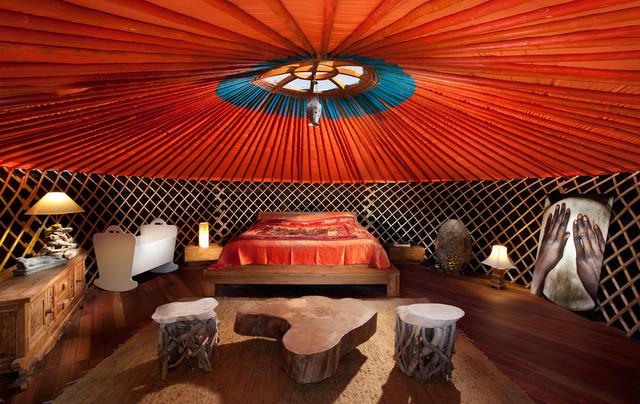 Eclectic Bedroom Idea In Other With Black Walls And Dark Hardwood Floors