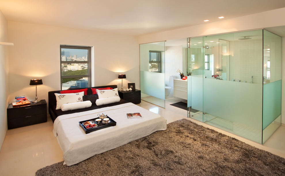 Inspiration for a contemporary master bedroom remodel in Other with white walls and no fireplace