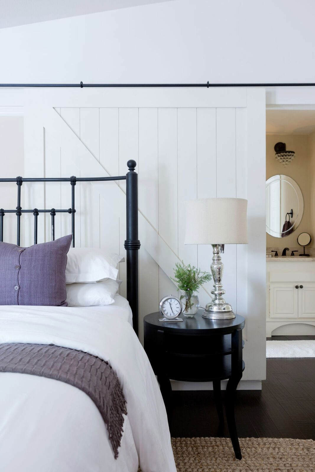 Bedroom Ensuite with Barn Door Headboard