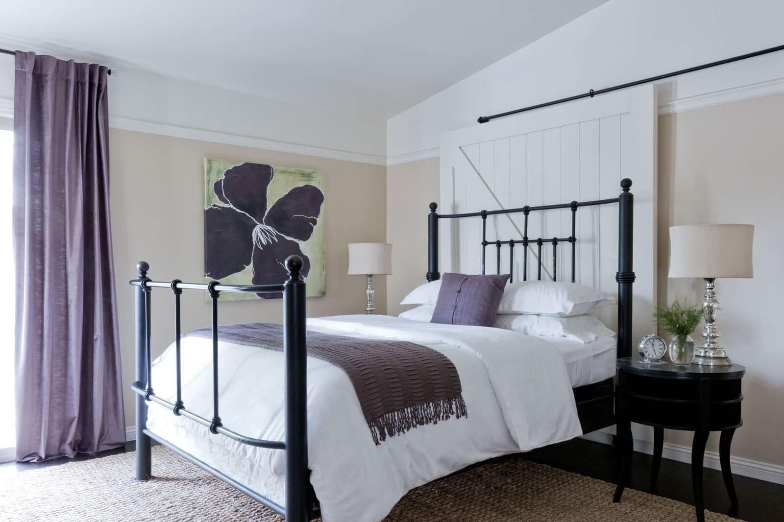 Bedroom Ensuite with Barn Door Headboard