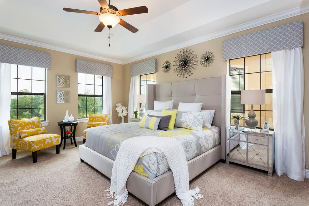 Bedroom - contemporary carpeted and beige floor bedroom idea in Orlando with beige walls