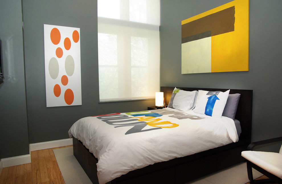 Example of a trendy bedroom design in Boston with gray walls