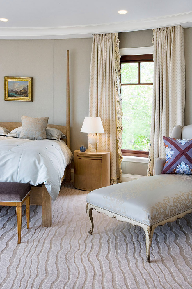 Trendy master carpeted bedroom photo in Boston with gray walls