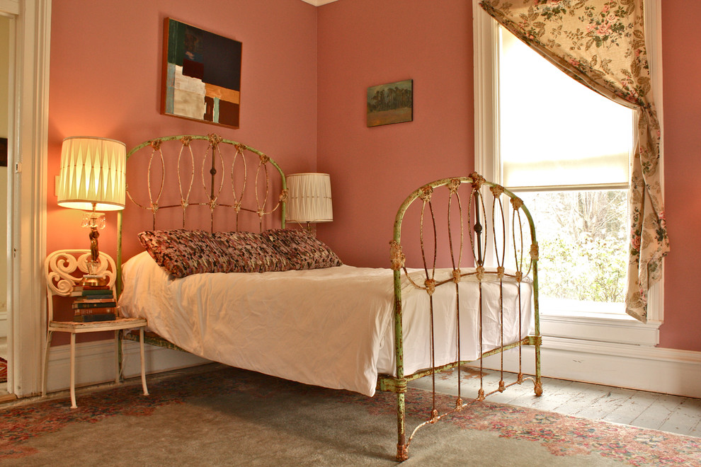 Bedroom - shabby-chic style bedroom idea in San Francisco with pink walls